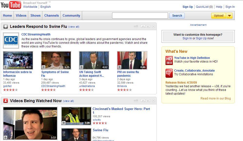 youtube il 1 maggio 2009