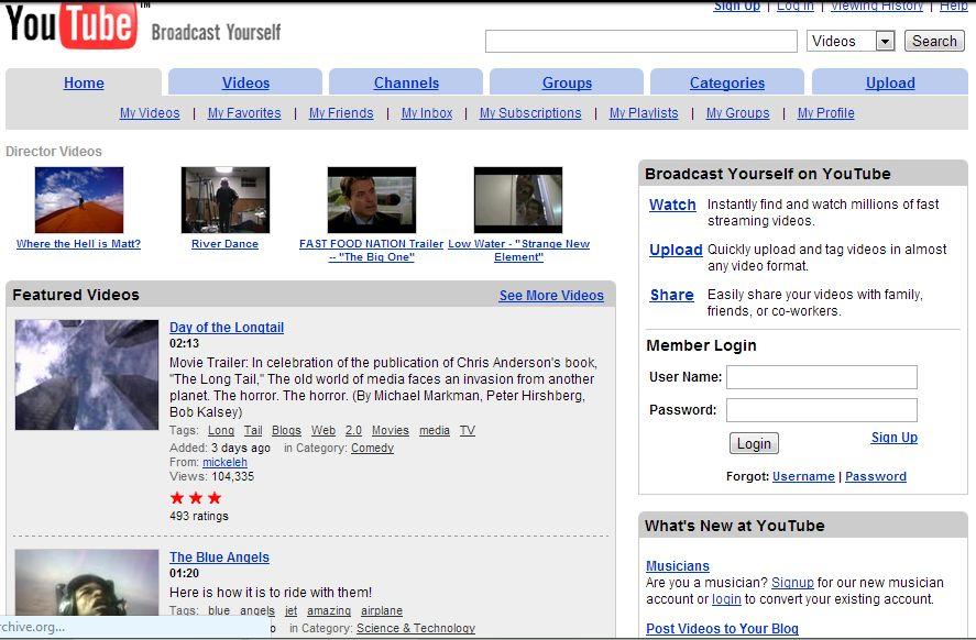 youtube il 31 luglio 2006